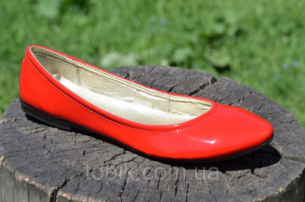 Балетки женские красные кожзам лак стильные практичные Львов (Код: 727а)