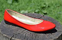Балетки женские красные кожзам лак стильные практичные Львов (Код: 727а), фото 1