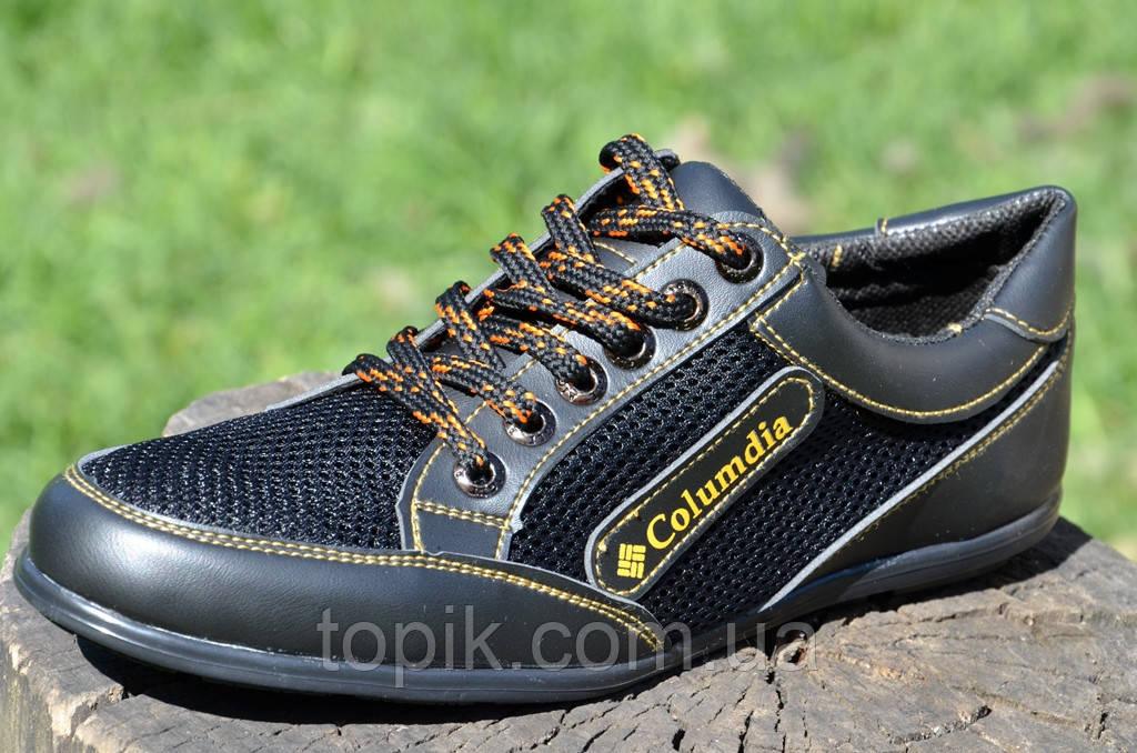 Туфли, кроссовки, мокасины летние сетка, вставки кожзам черные Львов (Код: 730а)