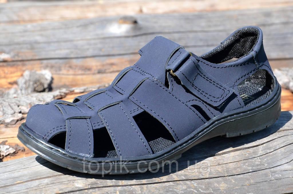 Босоножки, сандали мужские темно синие прошиты практичные искусственный нубук (Код: 731а)