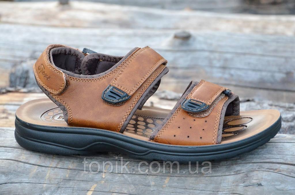 Босоножки, сандали мужские на липучках коричневые удобные практичные искусственная кожа (Код: 732а)