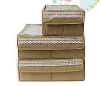 Набор органайзеров с крышками для нижнего белья 3 шт беж, фото 1