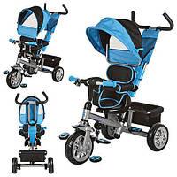 Детский трехколесный велосипед, поворотное сидение, голубой
