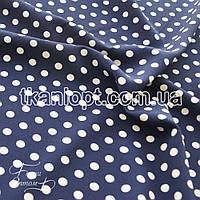 Ткань Софт стрейч горох (сине-белый)