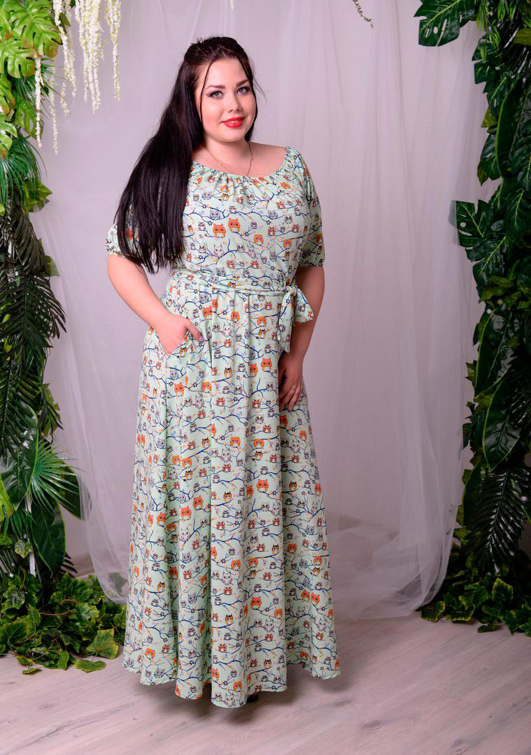 6e7e70f2cff0914 Длинное платье больших размеров Крестьянка мята - DS Moda - женская одежда  оптом от производителя в