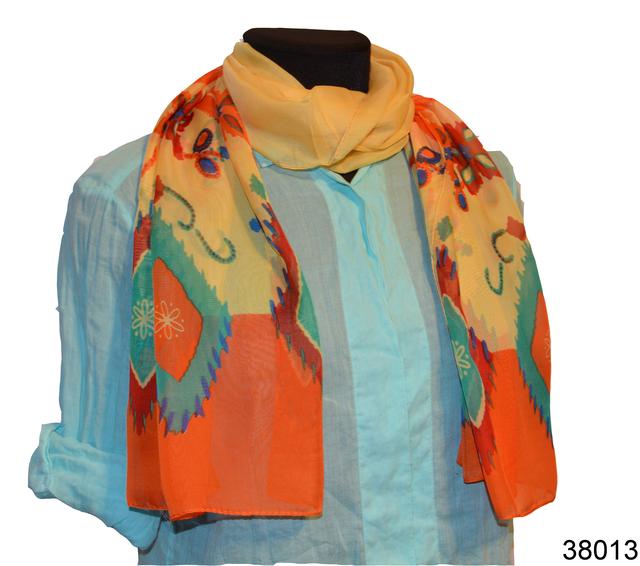 Женский желтый с оранжевым легкий шифоновый шарф 1