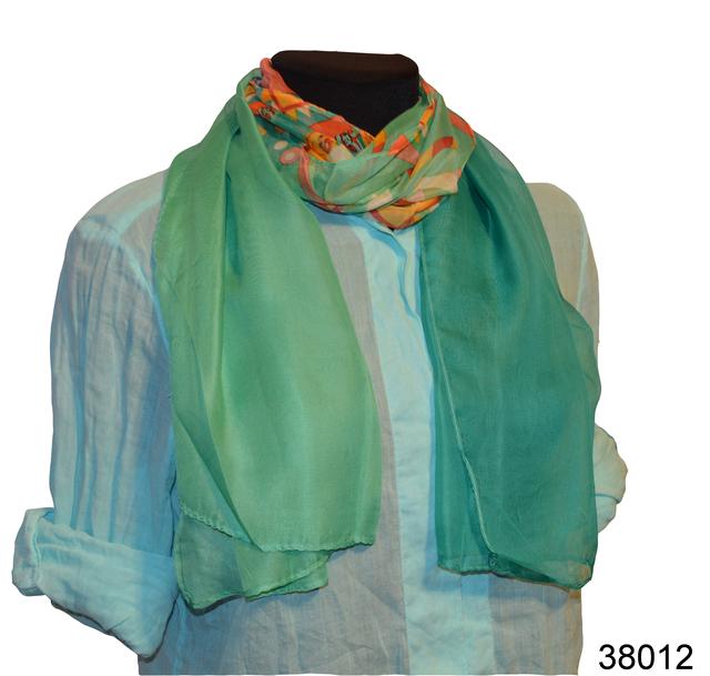 Женский ярко-бирюзовый легкий шифоновый шарф 1