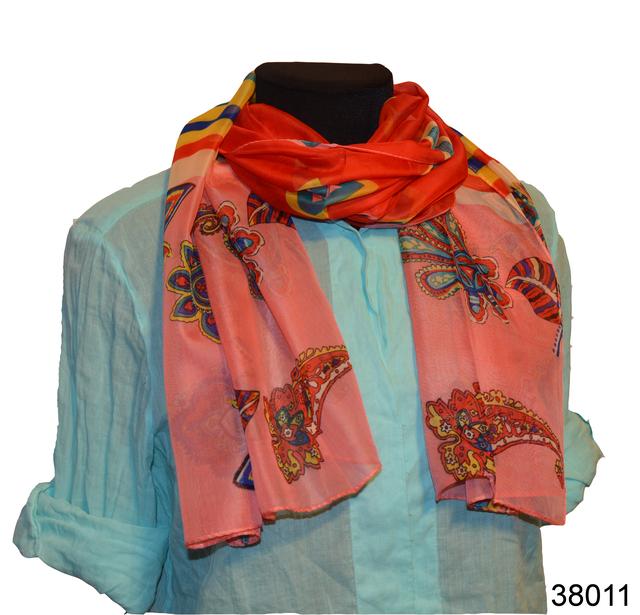 Женский красный с коралловым легкий шифоновый шарф 1