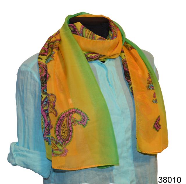 Женский желто-зеленый легкий шифоновый шарф 1