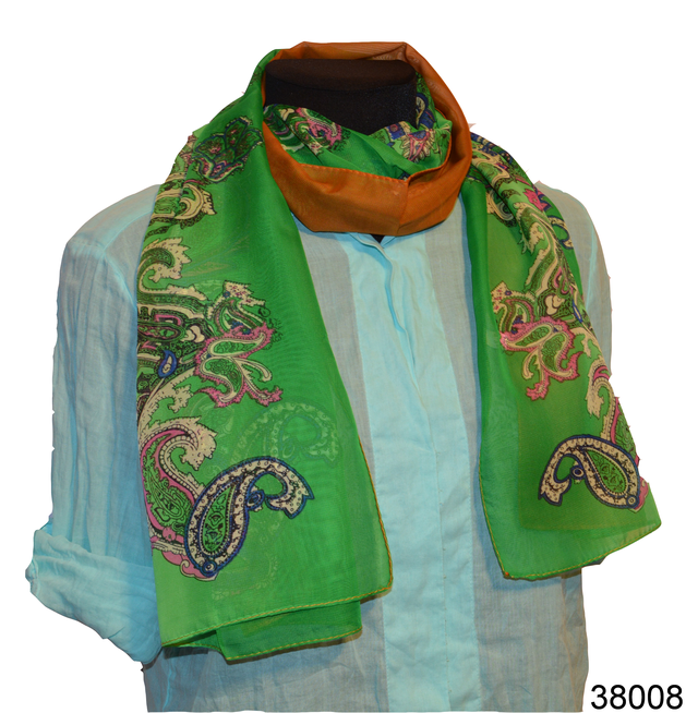 Женский зеленый легкий шифоновый шарф 1