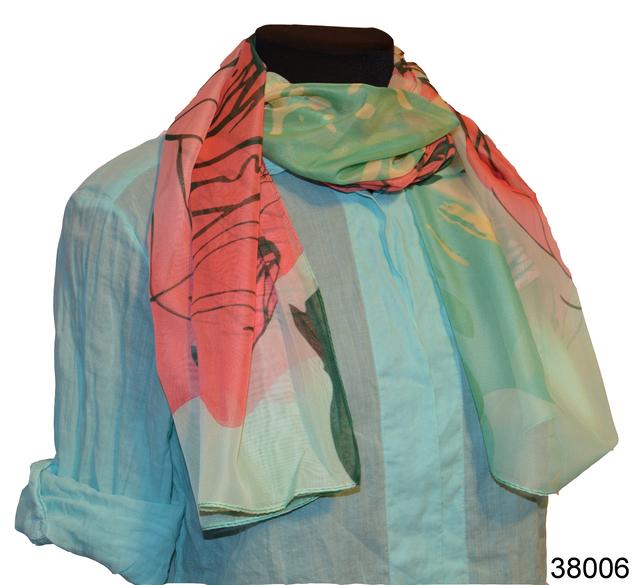 Женский легкий шифоновый шарф с розой1