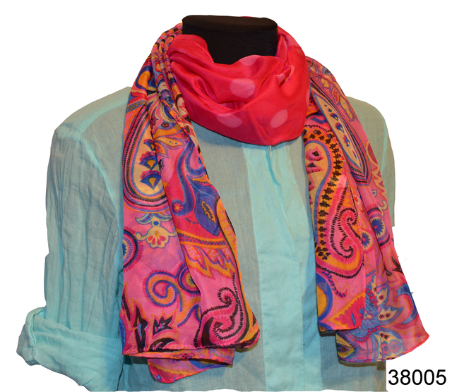 Женский глубокий розовый легкий шифоновый шарф 1