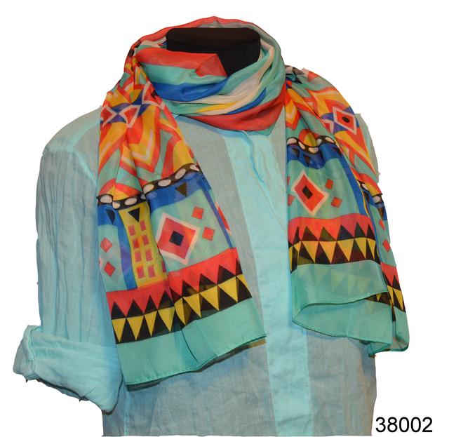 Женский бирюзовый легкий шифоновый шарф 1