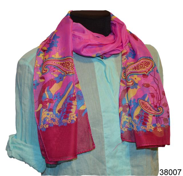 Женский малиновый легкий шифоновый шарф 1