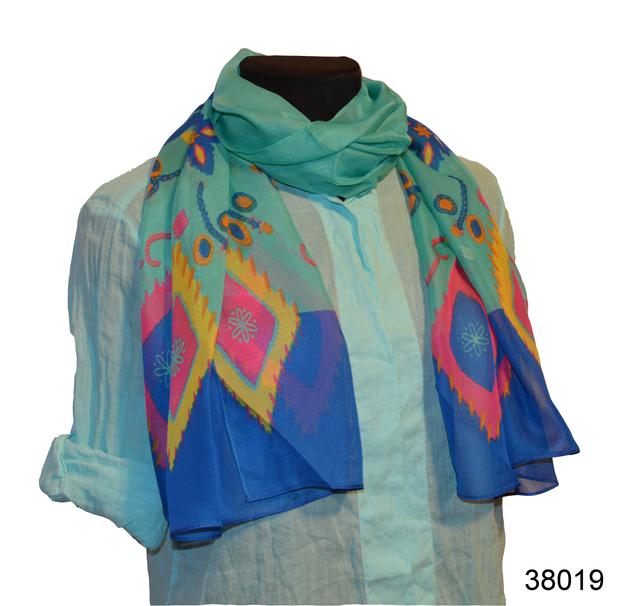 Женский легкий шифоновый шарф голубая бирюза 1