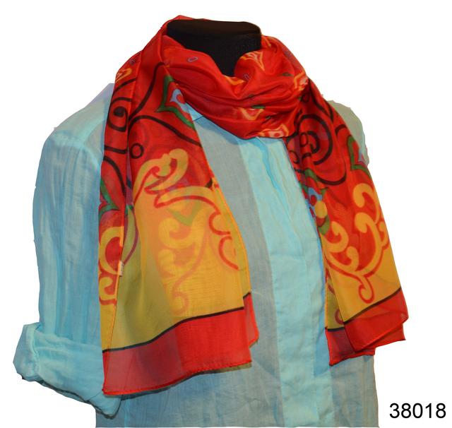 Женский красный легкий шифоновый шарф 1