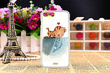 Силиконовый чехол на Iphone 5C с рисунком любовь кота и рыбки