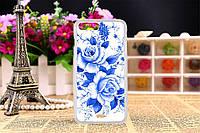 Силиконовый чехол на Iphone 5C с рисунком синие розы, фото 1