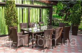 Обеденный комплект мебели на 8 персон из ротанга искуссвенного: стол и 8 стульев Милано