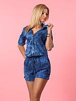 Женский летний комбинезон с шортами цвета джинс. Модель 987.