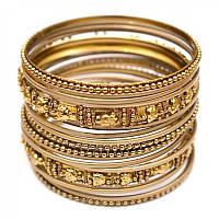 Комплект браслетов из 18 колец латунный жёлтый (7 см)