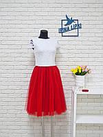 Элегантное шикарное платье с гипюром и фатином