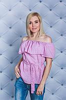 Блуза с рюшей розовая, фото 1