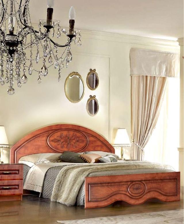 Кровать двуспальная Василиса 1600 с низким изножьем, цвет яблоня