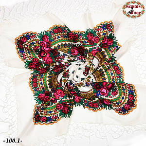 Біла українська хустка Квітучий сад 110см