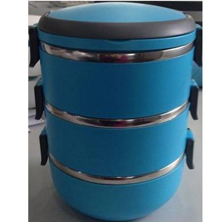 Термос пищевой ланч бокс пластиковый с железной колбой 3 секции 2.25л C-127 Lunch Box
