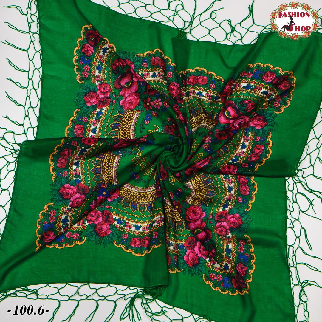 Украинский зелёный платок Цветущий сад