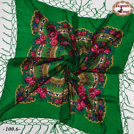 Украинский зелёный платок Цветущий сад, фото 2
