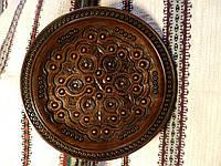 Тарілка декоративна дерев'яна різьбленна інкрустована міддю