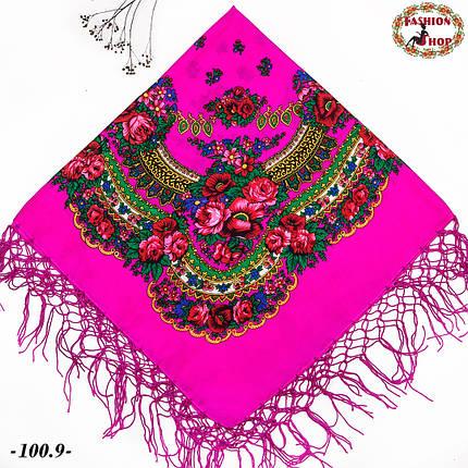 Рожева хустка українська народна Квітучий сад, фото 2