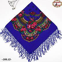 Чарівна українська хустка синя Квітучий сад, фото 2