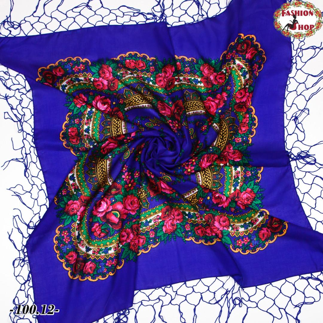 Чарівна українська хустка синя Квітучий сад