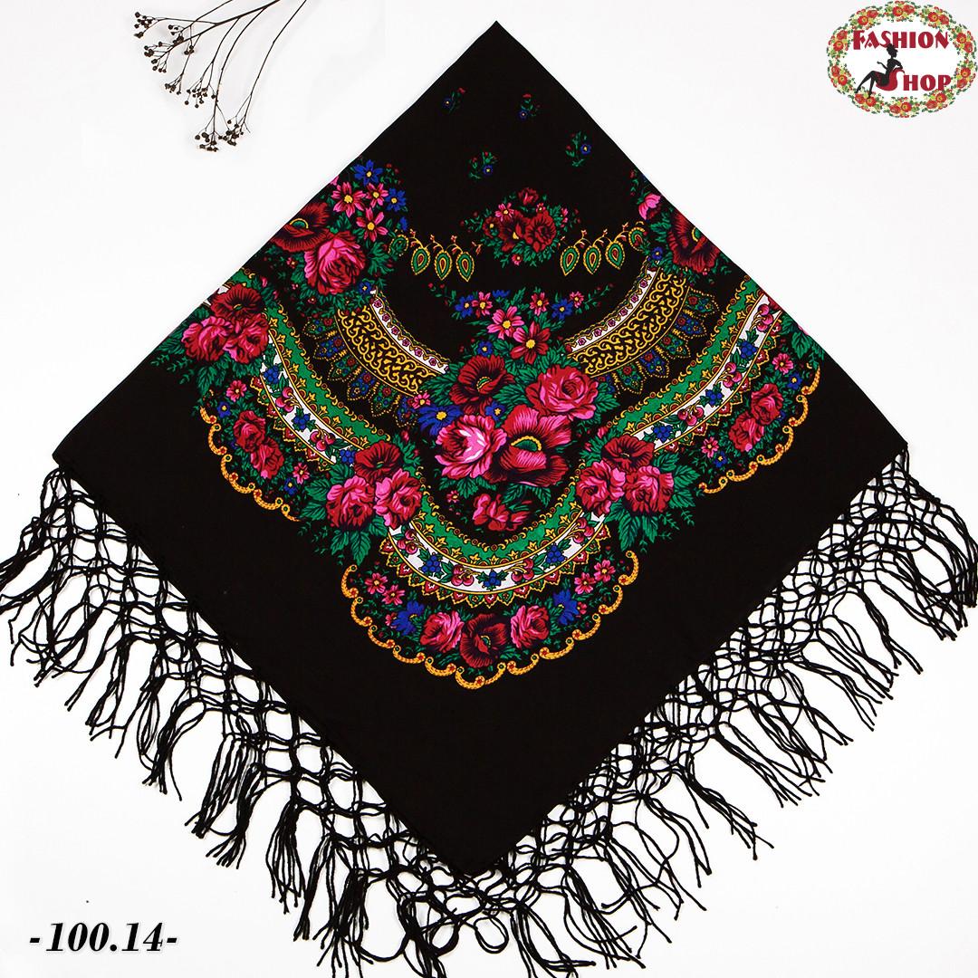 Чёрный украинский платок Цветущий сад 110 см