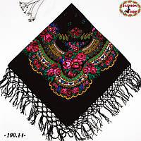 Украинский чёрный платок Цветущий сад