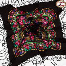 Чёрный украинский платок Цветущий сад 110 см, фото 2