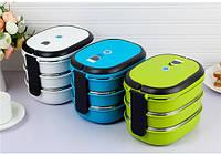 Термос пищевой ланч бокс пластиковый с железной колбой 3 секции 2.2л C-142 Lunch Box