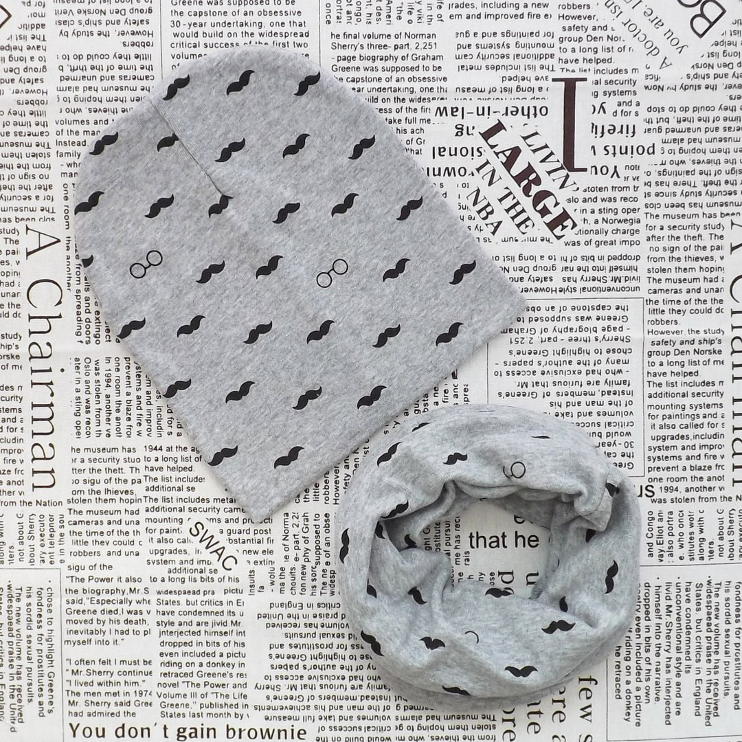 Комплект: детская шапка и шарф - кольцо Усы серый