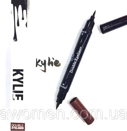 Підводка олівець для очей KYLIE Double Eyeliner чорна + коричнева 2 в 1