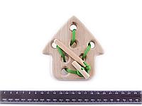 Деревянная игрушка Шнуровка Домик, фото 1