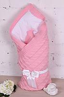 Утепленный розовый вязаный конверт-одеяло для новорожденных розовый