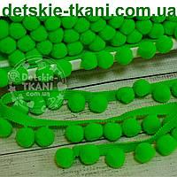 Тесьма с помпонами 20 мм зеленого цвета (Польша)