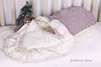 Нарядный конверт-одеяло на выписку для новорожденных с кружевом, Розали
