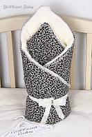 Зимний конверт-одеяло на выписку для новорожденных леопард