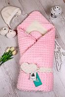 Зимний конверт-одеяло с шапочкой и пинетками на выписку