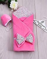 Зимний велюровый конверт-одеяло для новорожденных с шапочкой