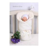 Зимний велюровый конверт одеяло для новорожденных с бантом